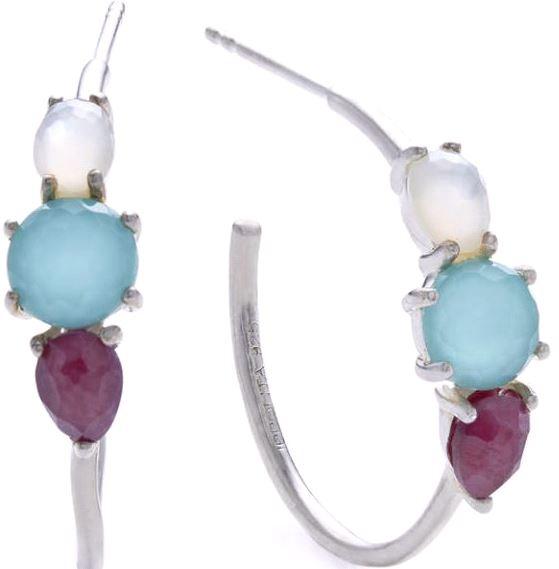 Ippolita Sterling Silver Rock Candy 3-Stone Hoop Earring in Multi.