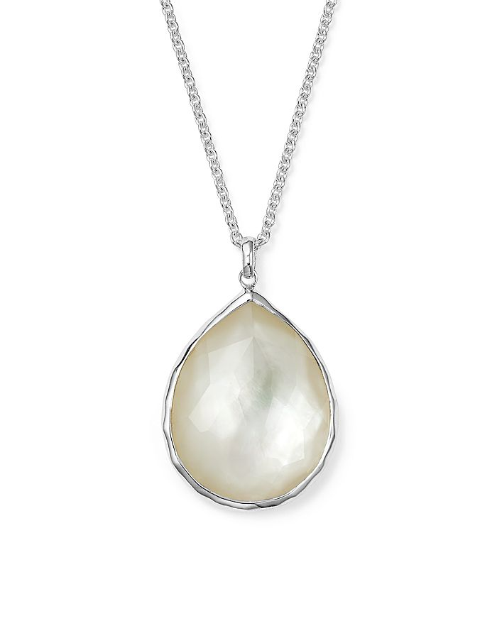 Ippolita Sterling Silver Rock Candy Large Teardrop Pendant Necklace in Mother of Pearl Doublet