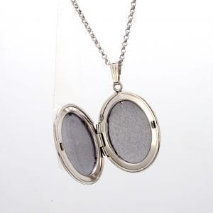 Sterling Silver Locket Pendant With Diamond