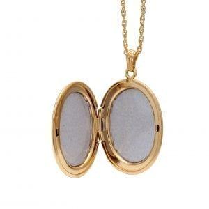 Gold Filled Oval Locket Pendant Necklace