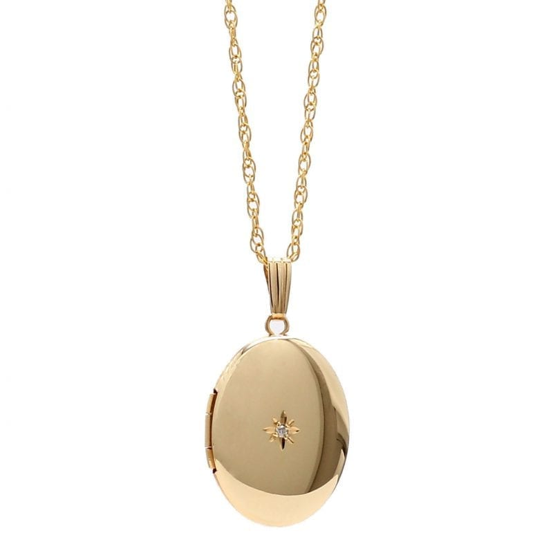 Gold Filled Locket Pendant Necklace With Diamonds