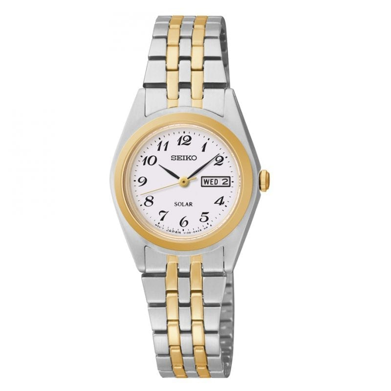 Seiko Solar White Dial Two-Tone 25mm Watch