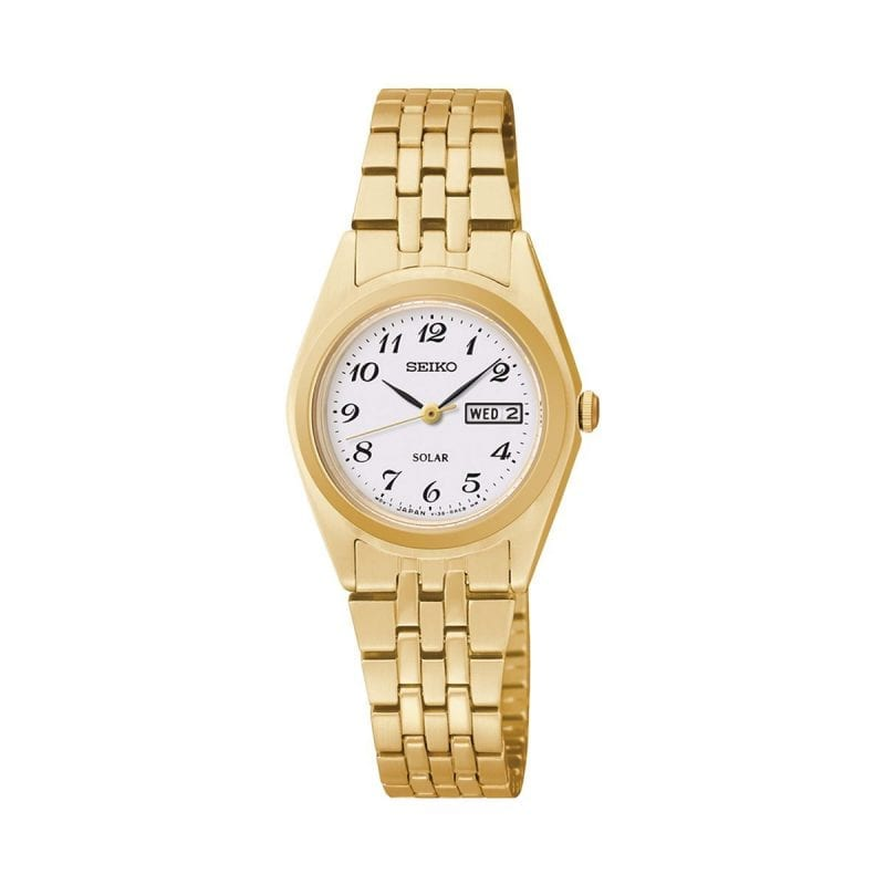 Seiko Core Solar White Dial Gold-Plated 25mm Watch