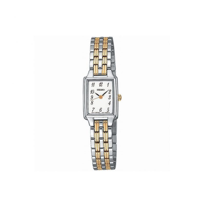 Seiko Stainless Steel & Yellow Gold Plate Rectangle Watch