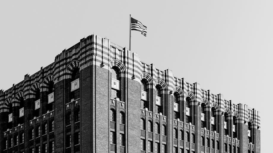 Shinola Watch Building Waving American Flag