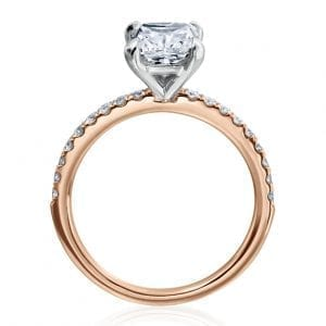 Cushion Cut Pave Diamond Engagement Ring Setting