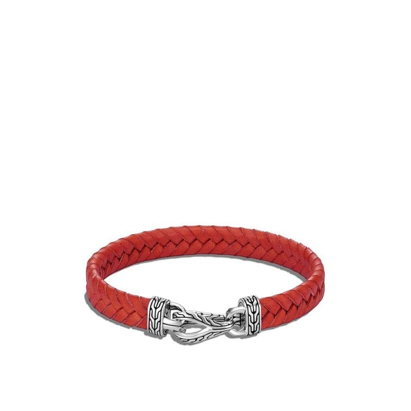 John Hardy Asli Classic Chain Link Station Bracelet in Orange Leather
