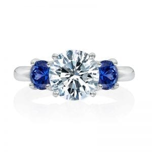 diamond sapphire engagement three stone ring