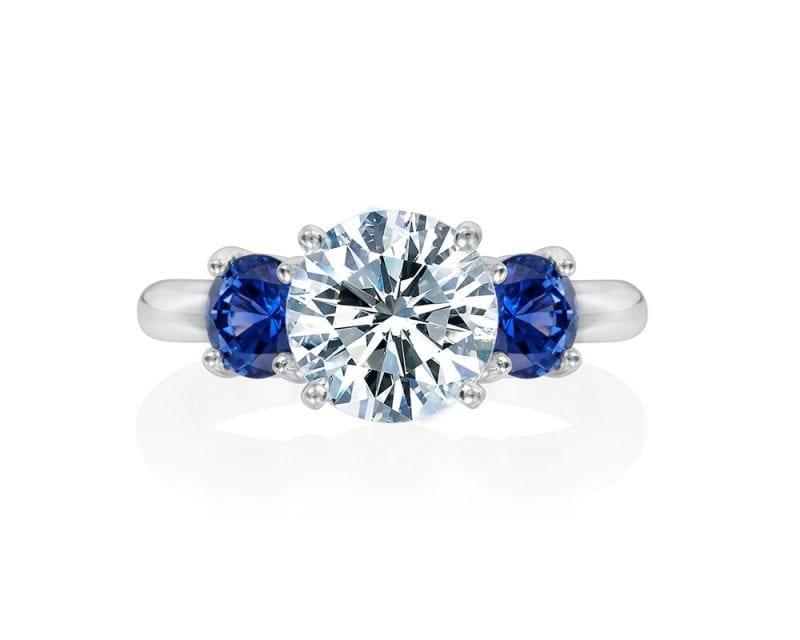 diamond sapphire engagement three stone ring