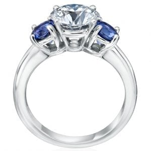 3 Stone Engagement Ring Setting with Sapphires