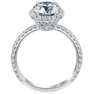 Round Halo Engagement Ring Diamond Setting