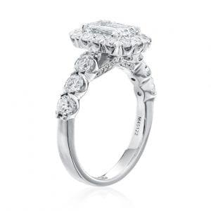 Emerald Cut Halo Engagement Ring Setting