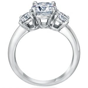 Three Stone Engagement Ring with Round Side Stones
