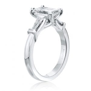 Emerald Cut Three Stone Engagement Ring Setting