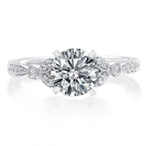 Round Floral Engagement Ring Setting