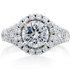 Christopher Designs Round Halo Engagement Ring Setting in 18kt White Gold