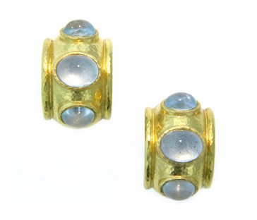 Elizabeth Locke Aquamarine Puffy Hoop Earrings in 19kt Yellow Gold