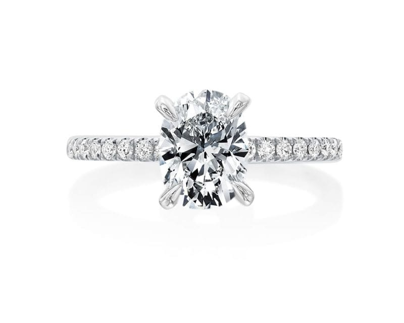 Diamond Oval Engagement RIng on white background