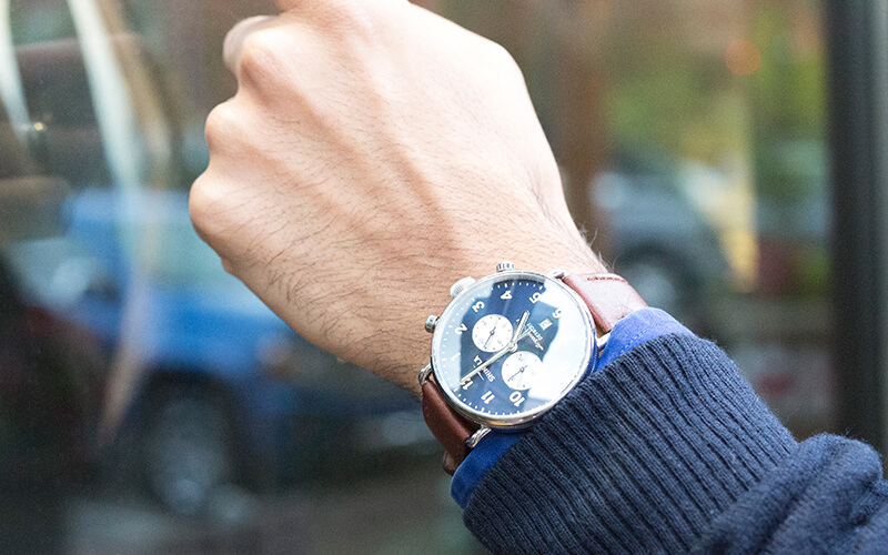 Men's Watch with leather band in Raleigh, Rocky Mount, and Greenville