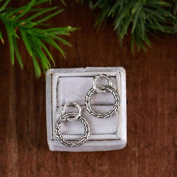 Silver chain earrings in a grey box