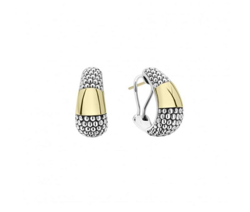lagos high bar caviar gold and silver hoop earrings