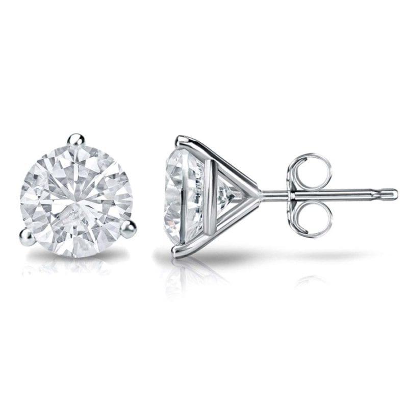 round diamond stud earrings martini set in 14kt white gold