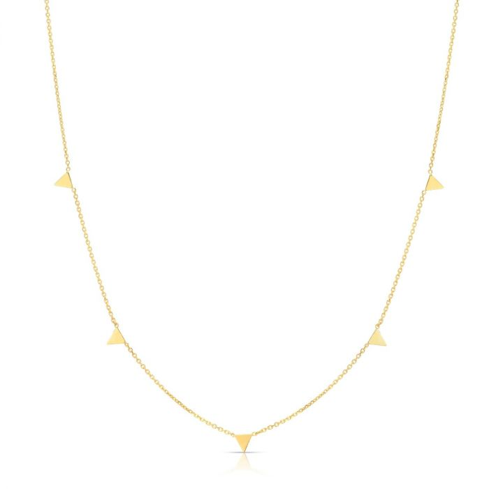 Mini Triangle Station Necklace in 14kt Yellow Gold