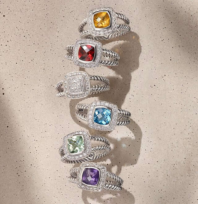 Six DY Albion Rings with Different Jewels
