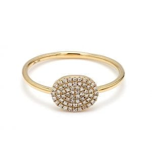 360 imaging of ring. Pave diamonds accent an oval face attached to a simple, thin yellow gold shank.