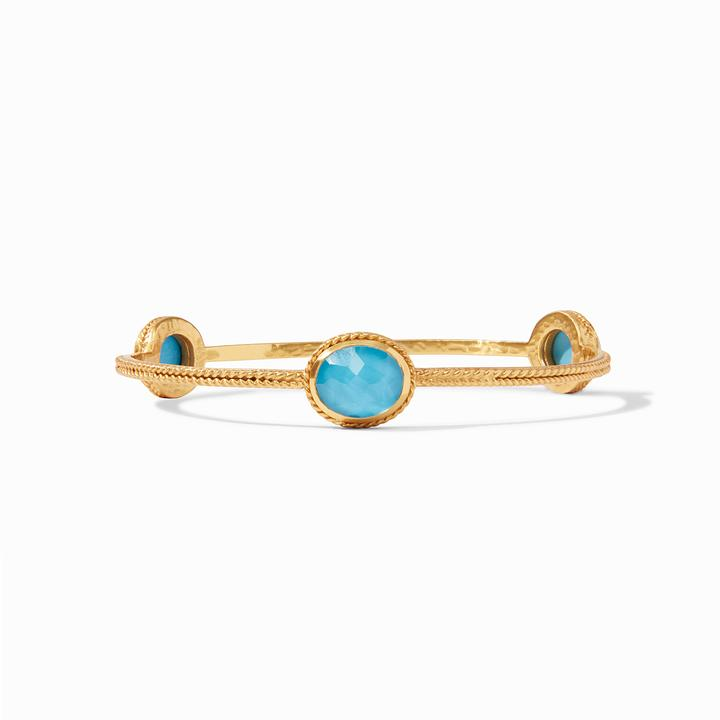Julie Vos 24k Yellow Gold Plate Calypso Bangle Bracelet in Pacific Blue