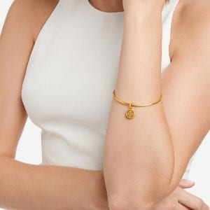 Julie Vos 24k Yellow Gold Plate Fleur-de-Lis Bangle Bracelet