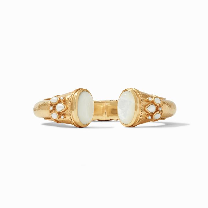 Julie Vos 24k Yellow Gold Plate Cassis Hinge Cuff Bracelet in Mother-of-Pearl