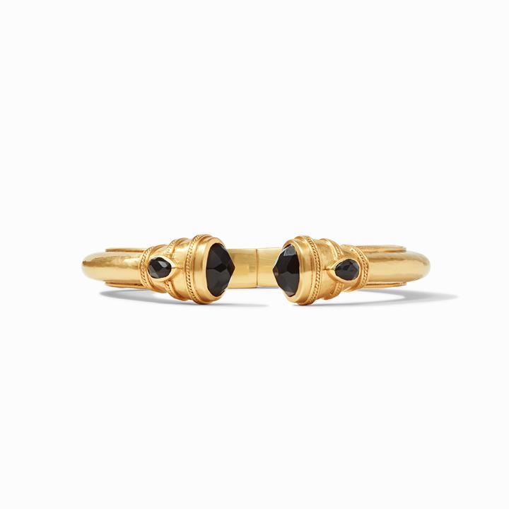 Julie Vos 24k Yellow Gold Plate Cassis Demi Hinge Cuff Bracelet in Obsidian Black