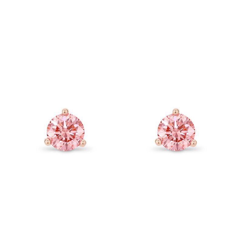pink diamond stud earrings in rose gold martini three prong setting