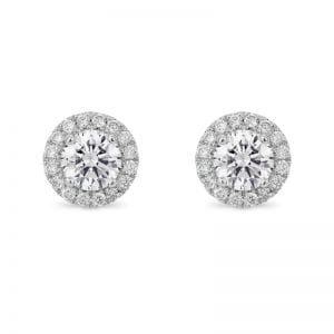 round diamond stud earrings with round halo