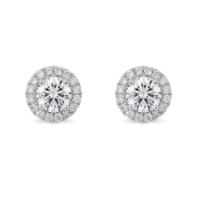 round diamond stud earrings with round halo