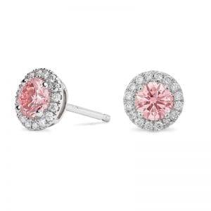 Lightbox 1.0ct Lab-Grown Pink Diamond Halo Stud Earrings