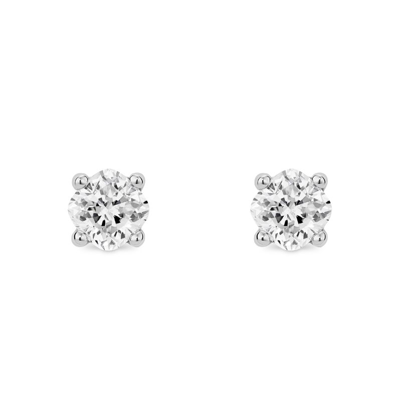 Lightbox Lab-Grown .75ct Cushion Cut Diamond Stud Earrings in 10k White Gold