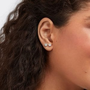 Lightbox Lab-Grown 1.00ct Cushion Cut Blue Diamond Stud Earrings in 10k White Gold