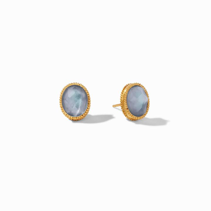 Julie Vos 24k Yellow Gold Plate Verona Stud Earrings in Iridescent Slate Blue