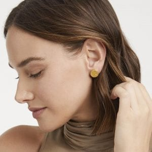 Julie Vos 24k Yellow Gold Plate Fleur-de-Lis Stud Earrings
