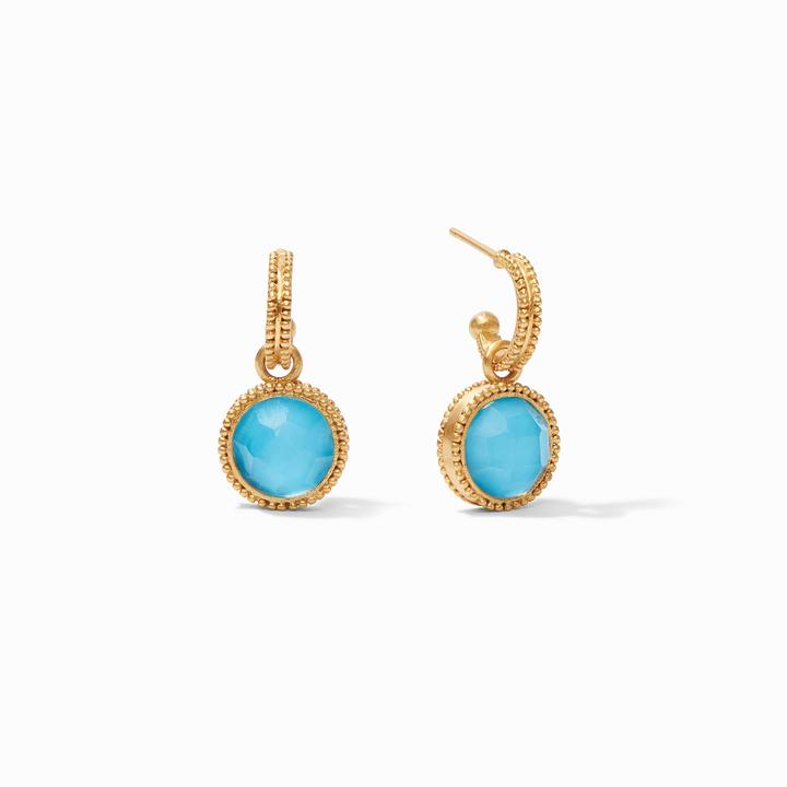 Julie Vos 24k Yellow Gold Plate Fleur-de-Lis Hoop & Charm Earrings in Iridescent Pacific Blue