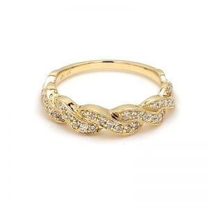 360 image of gold twist diamond wedding band ring