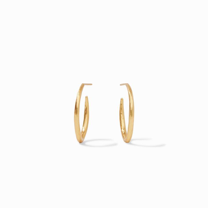 Julie Vos 24k Yellow Gold Plate Fleur-de-Lis Hoop Earrings