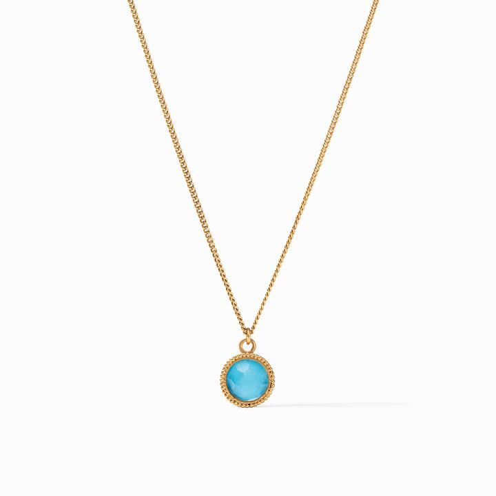 Julie Vos 24k Yellow Gold Plate Fleur-de-Lis Solitaire Necklace in Iridescent Pacific Blue