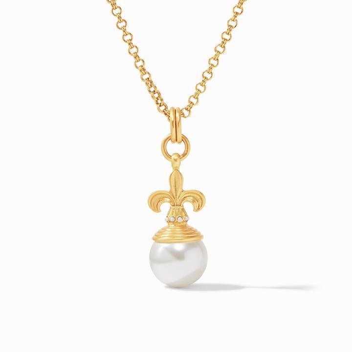 Julie Vos 24k Yellow Gold Plate Fleur-de-Lis Pearl Pendant Necklace
