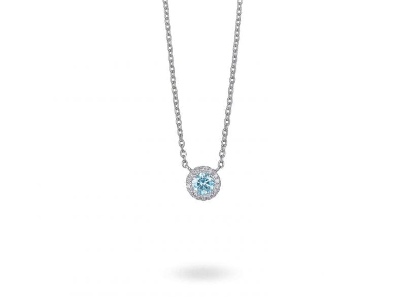 Lightbox Lab-Grown .50ct Blue Diamond Pendant Necklace in 10k White Gold