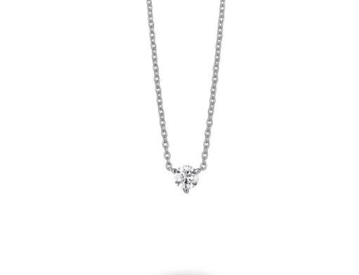 white labgrown diamond pendant set in white gold three-prong setting