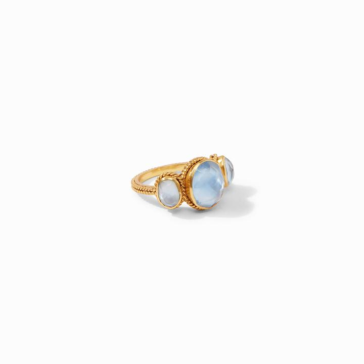 Julie Vos 24k Yellow Gold Plate Calypso Ring in Iridescent Chalcedony Blue