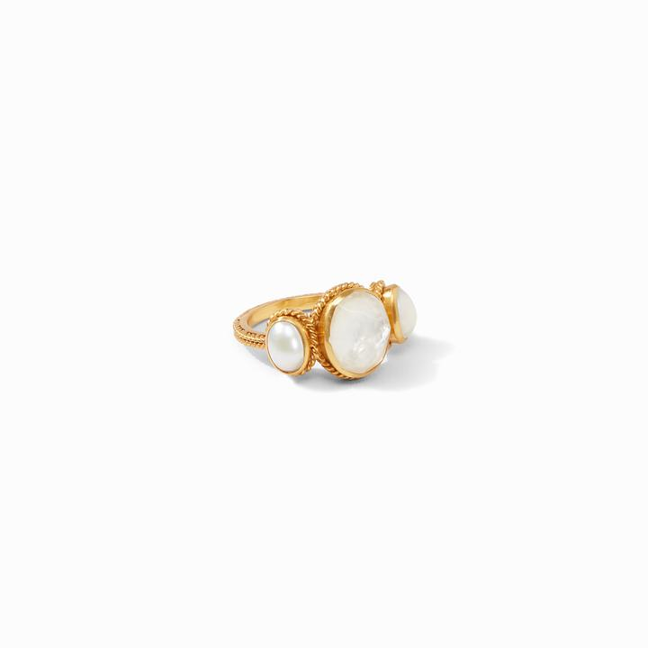 Julie Vos 24k Yellow Gold Plate Calypso Ring in Iridescent Clear Crystal